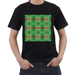 Geometric Seamless Pattern Digital Computer Graphic Men s T-Shirt (Black) (Two Sided)