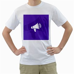Announce Sing White Blue Men s T-Shirt (White) (Two Sided)