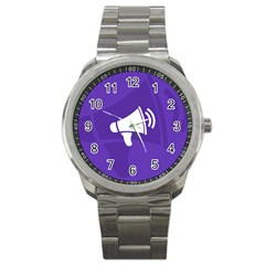 Announce Sing White Blue Sport Metal Watch