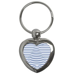 Animals Illusion Penguin Line Blue White Key Chains (Heart)