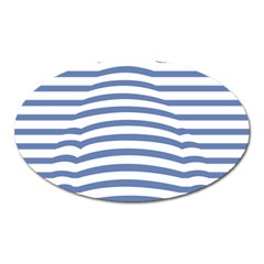 Animals Illusion Penguin Line Blue White Oval Magnet
