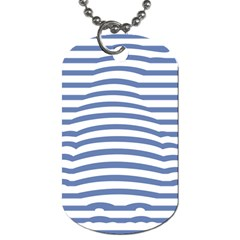 Animals Illusion Penguin Line Blue White Dog Tag (One Side)