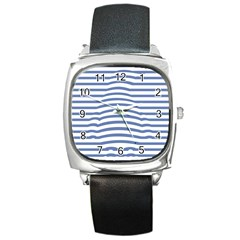 Animals Illusion Penguin Line Blue White Square Metal Watch