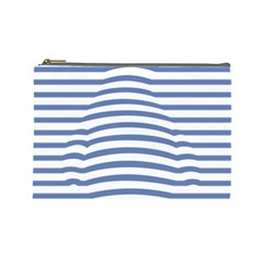 Animals Illusion Penguin Line Blue White Cosmetic Bag (Large)