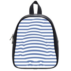 Animals Illusion Penguin Line Blue White School Bags (Small)