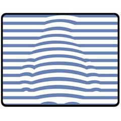 Animals Illusion Penguin Line Blue White Fleece Blanket (Medium)