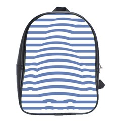 Animals Illusion Penguin Line Blue White School Bags (XL)