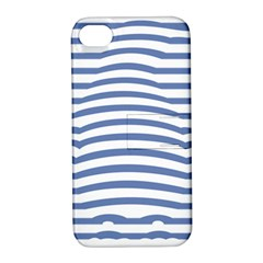 Animals Illusion Penguin Line Blue White Apple iPhone 4/4S Hardshell Case with Stand
