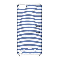 Animals Illusion Penguin Line Blue White Apple iPod Touch 5 Hardshell Case with Stand