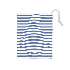 Animals Illusion Penguin Line Blue White Drawstring Pouches (Medium)