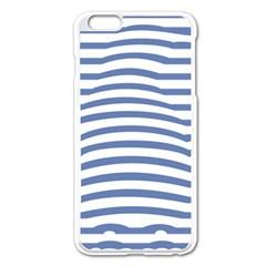 Animals Illusion Penguin Line Blue White Apple iPhone 6 Plus/6S Plus Enamel White Case