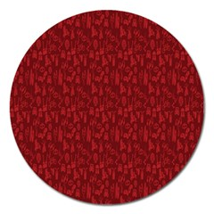 Bicycle Guitar Casual Car Red Magnet 5  (Round)