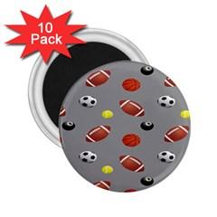 Balltiled Grey Ball Tennis Football Basketball Billiards 2.25  Magnets (10 pack)