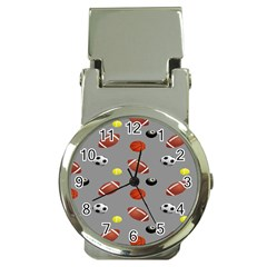 Balltiled Grey Ball Tennis Football Basketball Billiards Money Clip Watches