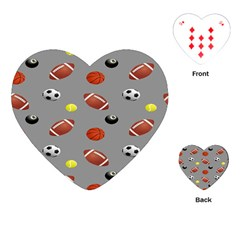 Balltiled Grey Ball Tennis Football Basketball Billiards Playing Cards (Heart)