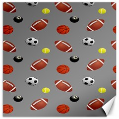 Balltiled Grey Ball Tennis Football Basketball Billiards Canvas 12  x 12