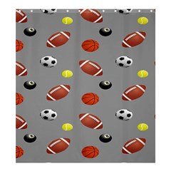 Balltiled Grey Ball Tennis Football Basketball Billiards Shower Curtain 66  x 72  (Large)