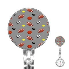 Balltiled Grey Ball Tennis Football Basketball Billiards Stainless Steel Nurses Watch