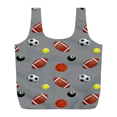 Balltiled Grey Ball Tennis Football Basketball Billiards Full Print Recycle Bags (L)