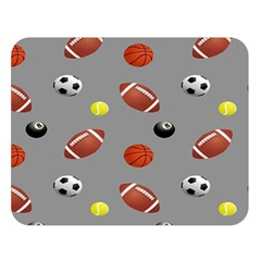 Balltiled Grey Ball Tennis Football Basketball Billiards Double Sided Flano Blanket (Large)