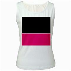 Black Pink Line White Women s White Tank Top
