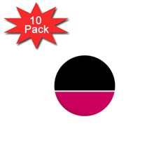 Black Pink Line White 1  Mini Buttons (10 pack)