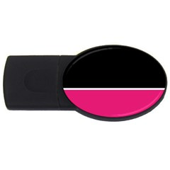 Black Pink Line White USB Flash Drive Oval (2 GB)