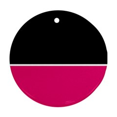 Black Pink Line White Round Ornament (Two Sides)