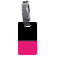 Black Pink Line White Luggage Tags (Two Sides)