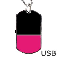 Black Pink Line White Dog Tag USB Flash (One Side)