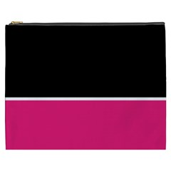 Black Pink Line White Cosmetic Bag (XXXL)