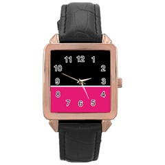 Black Pink Line White Rose Gold Leather Watch