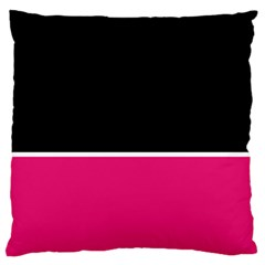 Black Pink Line White Large Flano Cushion Case (Two Sides)