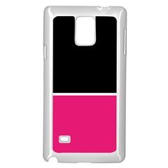 Black Pink Line White Samsung Galaxy Note 4 Case (White)