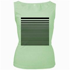 Black White Line Women s Green Tank Top
