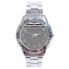 Black White Line Stainless Steel Analogue Watch