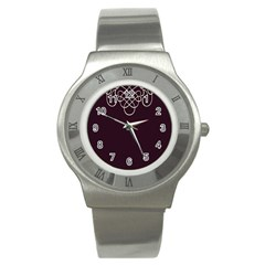 Black Cherry Scrolls Purple Stainless Steel Watch