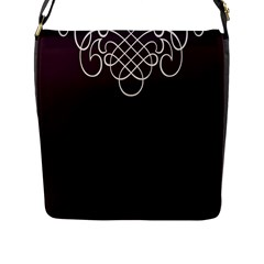 Black Cherry Scrolls Purple Flap Messenger Bag (L)