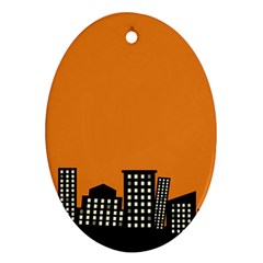 City Building Orange Ornament (Oval)