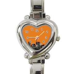 City Building Orange Heart Italian Charm Watch