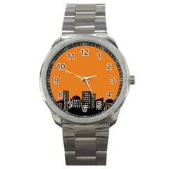 City Building Orange Sport Metal Watch