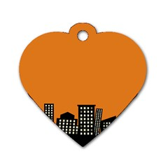 City Building Orange Dog Tag Heart (Two Sides)