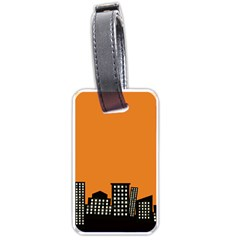 City Building Orange Luggage Tags (two Sides)