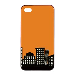 City Building Orange Apple iPhone 4/4s Seamless Case (Black)