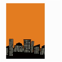 City Building Orange Small Garden Flag (Two Sides)