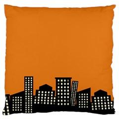 City Building Orange Large Cushion Case (One Side)