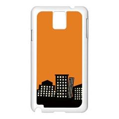City Building Orange Samsung Galaxy Note 3 N9005 Case (White)