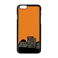 City Building Orange Apple iPhone 6/6S Black Enamel Case