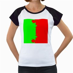 Critical Points Line Circle Red Green Women s Cap Sleeve T