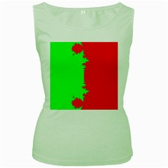 Critical Points Line Circle Red Green Women s Green Tank Top